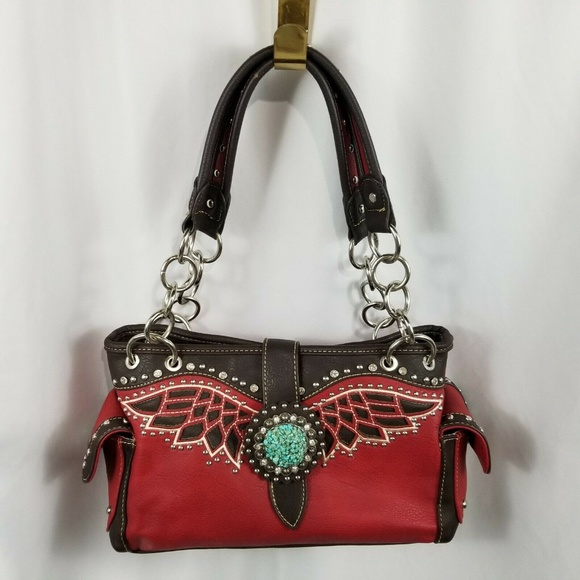 Montana West Handbags - Montana West Red Brown Buckle Purse Handbag